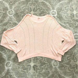Garage Blush Pink Cropped Knit Sweater